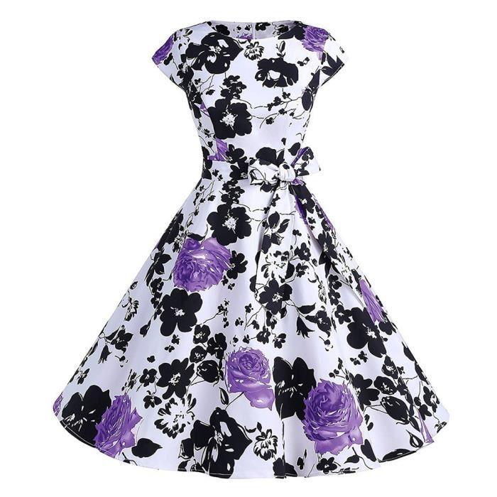 Frankmall®Femmes Vintage floral robe de soirée Bodycon courte manche Casual Prom SwingViolet ZSS71212425PP