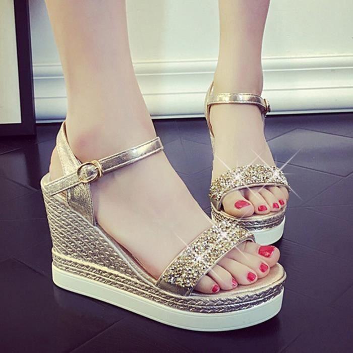 Sandales femme nouvel été épais fond de la plate-forme de haut talon strass