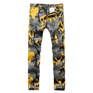 5a457eacaf80 JEANS Pantalon Homme Type droit en Jeans stretch imprimé