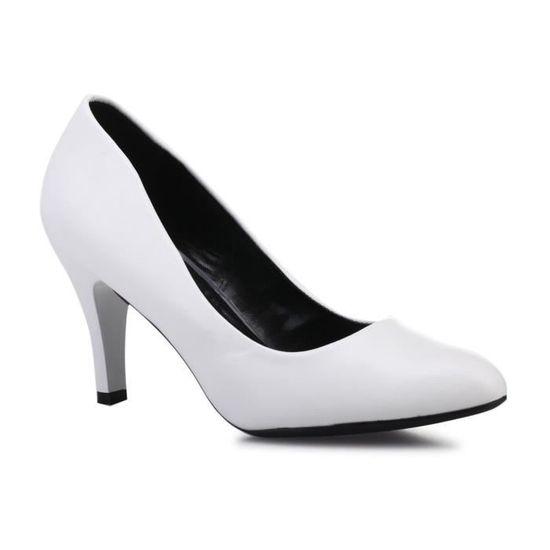 Escarpins à bout - rond blancs Blanc Blanc - bout Achat / Vente escarpin a27739