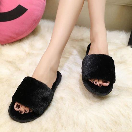 Mesdames Femmes Slip On Sliders Fluffy en fausse fourrure plat Slipper Flip Flop Sandal Noir Noir Noir - Achat / Vente slip-on