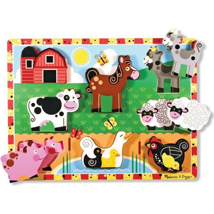 Puzzle à Grosses Pièces En Bois - Animaux De Ferme - Garçon et Fille - A partir de 2 ans - Livré à l'unitéPUZZLE