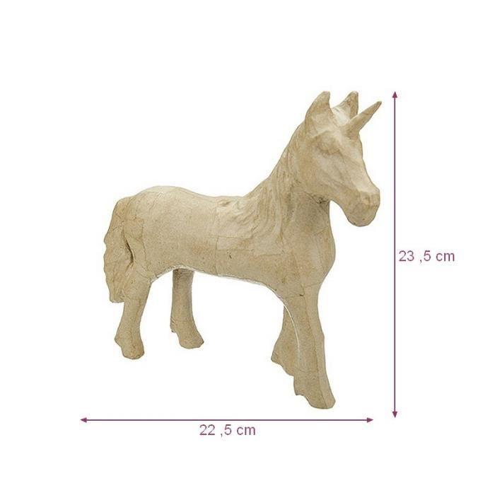 Licorne debout, figurine en papier mâché, 23,5 x 22,3 x 7 cm, cheval ...