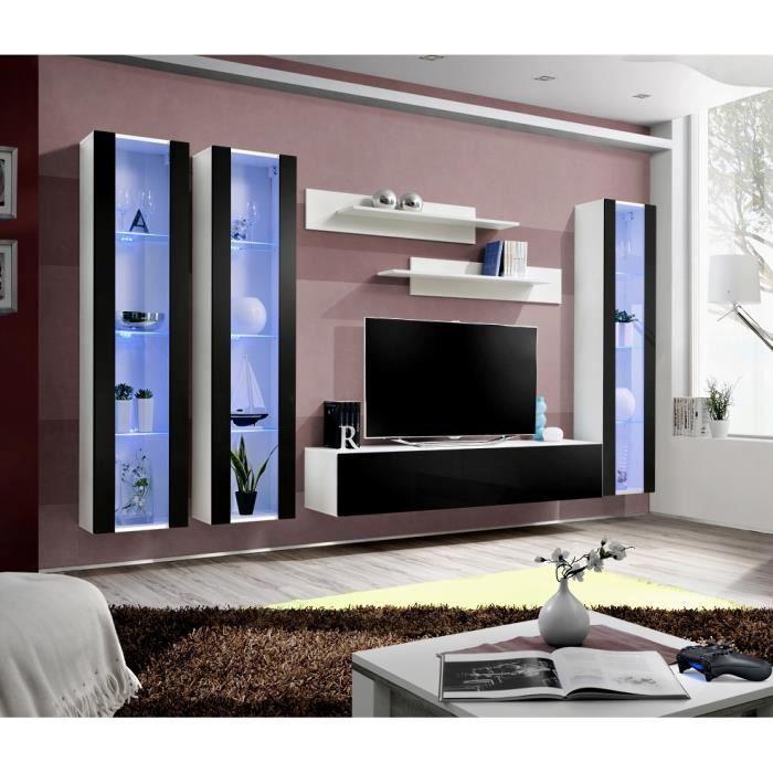 Ensemble meuble TV mural FLY-C noir et blanc avec LED - Achat ...