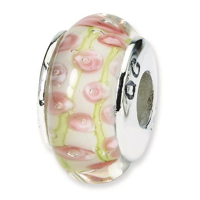 Ster. Reflets Rose-Argent-Perle en verre de Murano-Vert