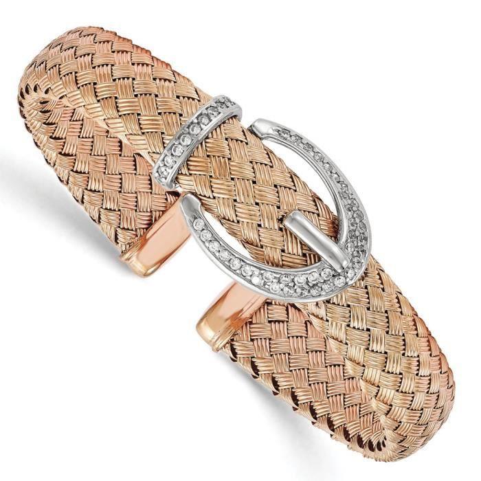 11,8 mm Argent 925/1000–Rose-tone tissé CZ Bracelet manchette Flexible