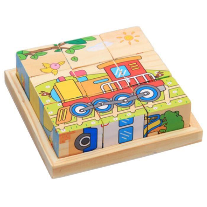 3d Jouets En Puzzle Cube D'enfants Jouet Éducatif De Bois Voitures JuKTc3lF1