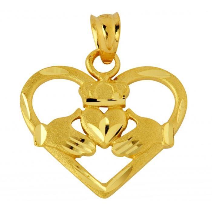 Collier Pendentif14 ct 585/1000 Cœur en forme de Claddagh