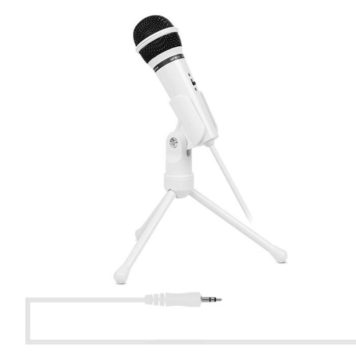 (#144) 120 Degree Rotation Head 3.5mm Jack Studio Stereo Recording Microphone, Cable Length: 1.3m,(white)