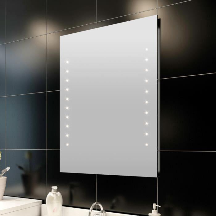 BLEOSAN M2 Miroir Salle De Bain Avec Eclairage 30 LEDs 24W Blanc Chaud 60 X 80 Cm
