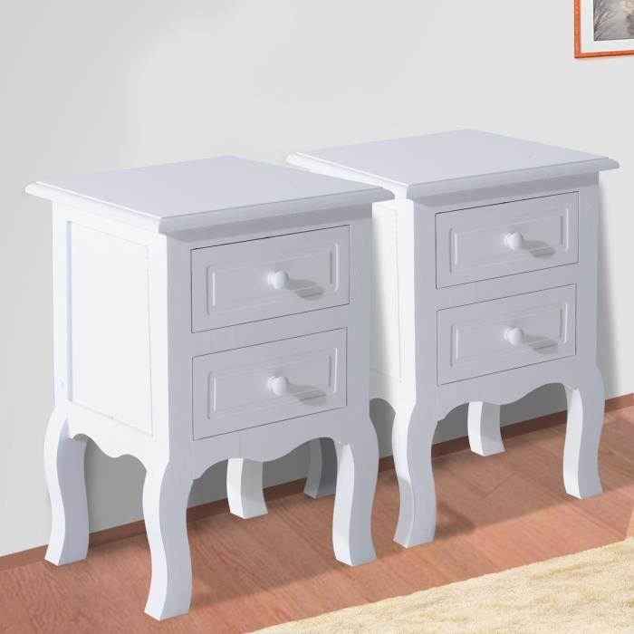 lot de 2 chevets tables de nuit double tiroir 34 x 30 x 49 cm blanc 84 achat vente commode. Black Bedroom Furniture Sets. Home Design Ideas