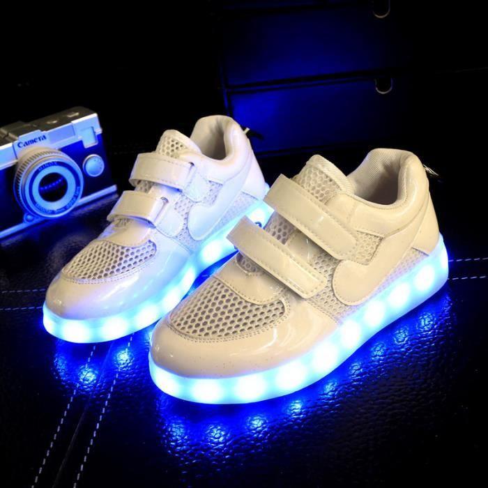 Mode enfants 7 Couleu Chaussures LED Lumineux Chaussures de Sports Baskets Garcon Fille Chaussures Sports Baskets xkMm0