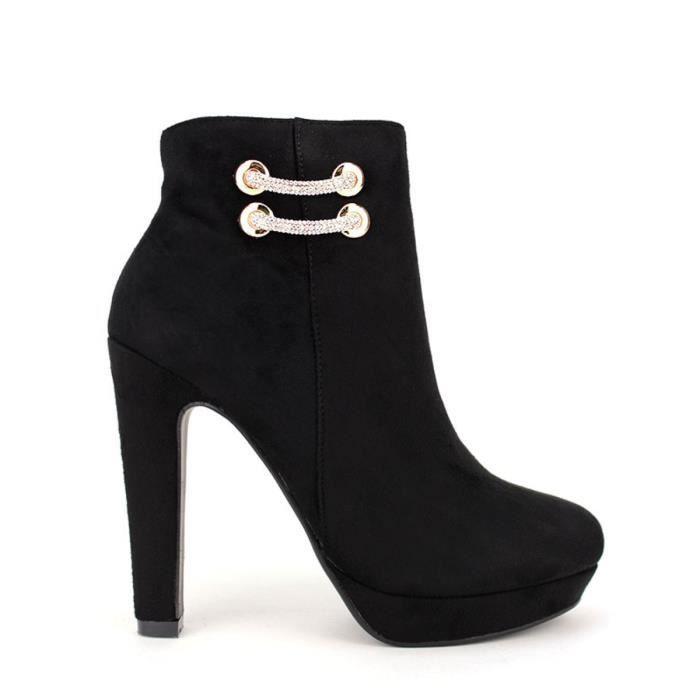 Bottines Noir Chaussures Femme, Cendriyon