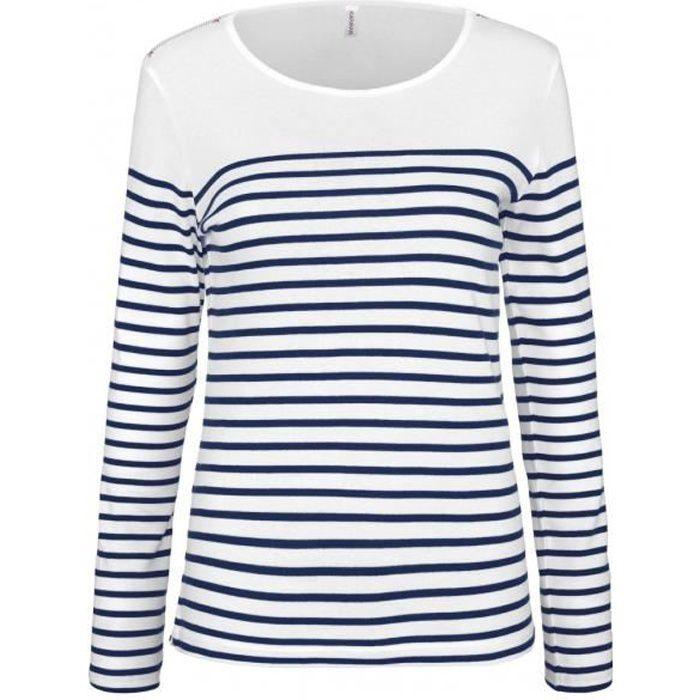 bf3b91d16df4c Marinière femme - t-shirt manches longues - K386 - blanc rayé marine ...