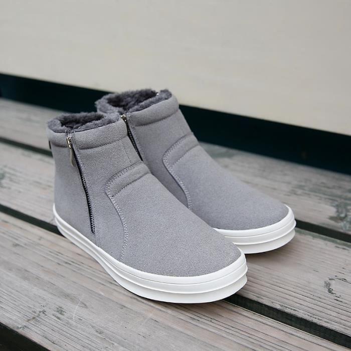 Botte Homme d'hiver Zipper Style Coréen gris clair taille6.5