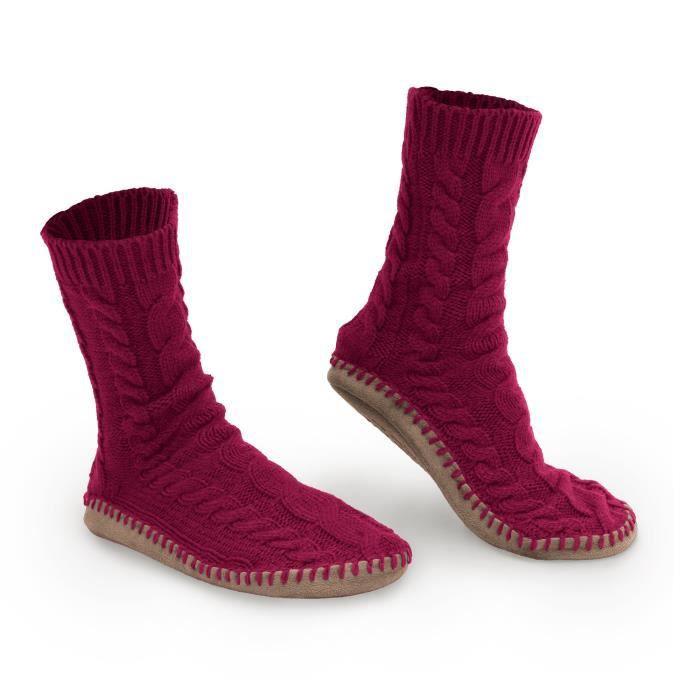 chaussettes hautes en maille torsadée - mousse mémoire + semelle anti-dérapante - tailles s, m, l - semelle en faux daim IJYRD Taill