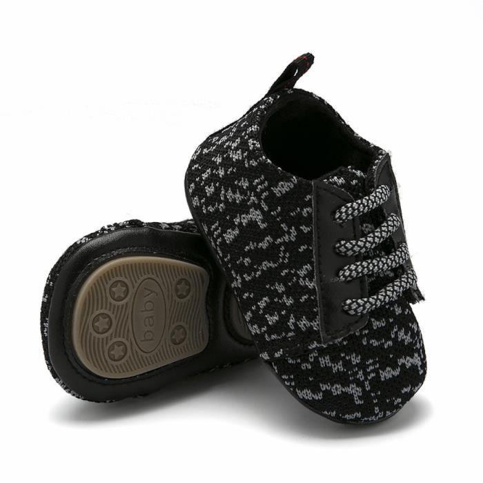 2bb21acf679a7 Chaussures Nouveau-né Bébé Garçon Filles Semelle Souple Anti-dérapant  ChaussuresNoir-046