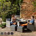 Salon de jardin MANHATTAN - 4 Chaises, 4 Tabourets, 1 Table en ...