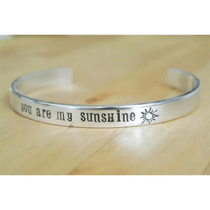 Womens You Are My Sunshine Bracelet | Gift For Her | Mother Daughter Gift | Hand Stamped BraceletQO5XG