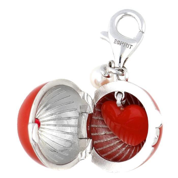 Esprit Femmes Charm 925 Argent Argent/Rouge Burning Heart Ball ESCH91183A000