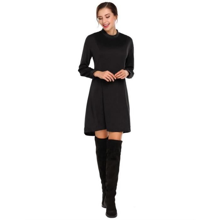 Robe Femmes Casual Stand col Long lanterne manches solide lâche