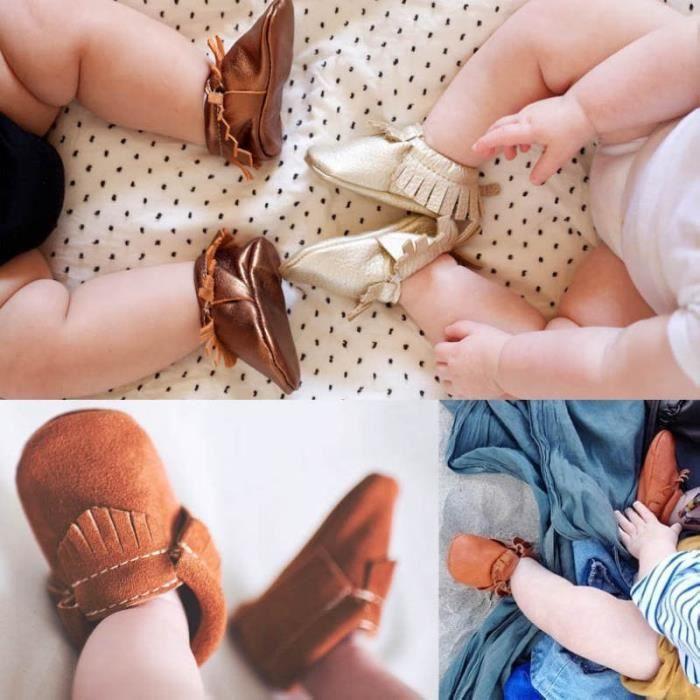XZ634D3XZ634D3Baby Soft Sole Chaussures en cuir pour bébés Garçon Fille Tout-petit Moccasin bYN5yy