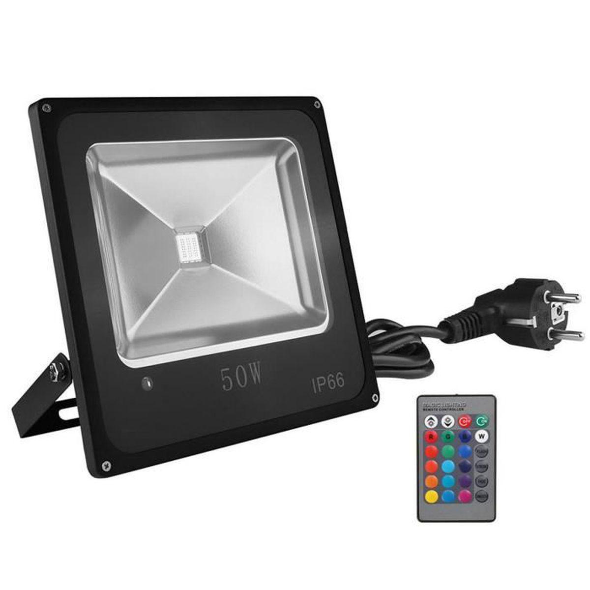 XINBAN Projecteur RGB 50W  LED avec Télé mande 16 Couleurs et 4