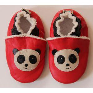 Chaussons en Cuir Souple Taille 6-12Mois panda fourrés rqoanDY4G