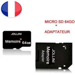 CARTE MÉMOIRE Carte mémoire Micro SD 64 Go classe 10 + adaptateu