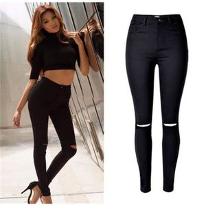 d2f460086e7f JEANS Jeans Femme élastique Slim Déchiré Pantalon Taill