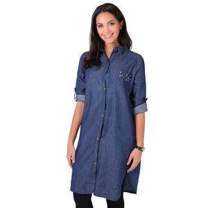 4d0d16052a54a Femmes Chemise Chemisier Jeans Denim Longue Robe Blouse Top Tunique ...