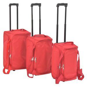 SET DE VALISES Ensemble de valises 3 pcs Rouge Tissu avec revêtem