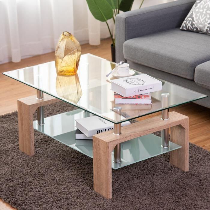 Table Basse En Verre Et Bois Table De Salon Table Basse Scandinaves