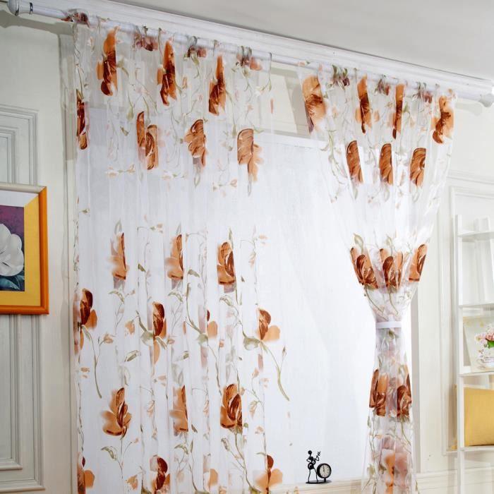 100cmX200cm Rideaux de luxe voile net fente Top plain floral pour ...