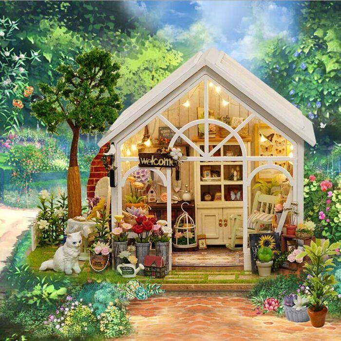 Dollhouse Miniature Bricolage Maison En Bois Cadeau Artisanale