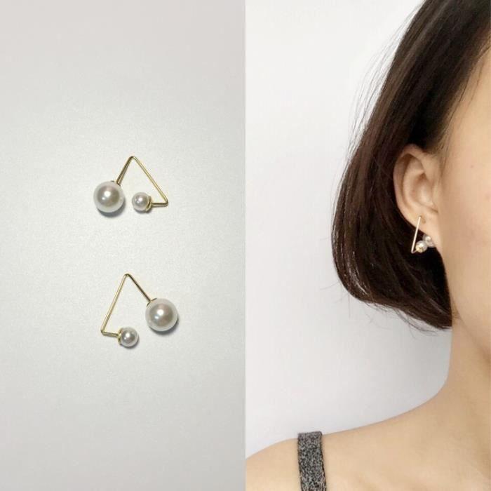 Bijoux mode 2018915 boucle doreille femmes & # 39; minimaliste de la mode de perle acrylique1