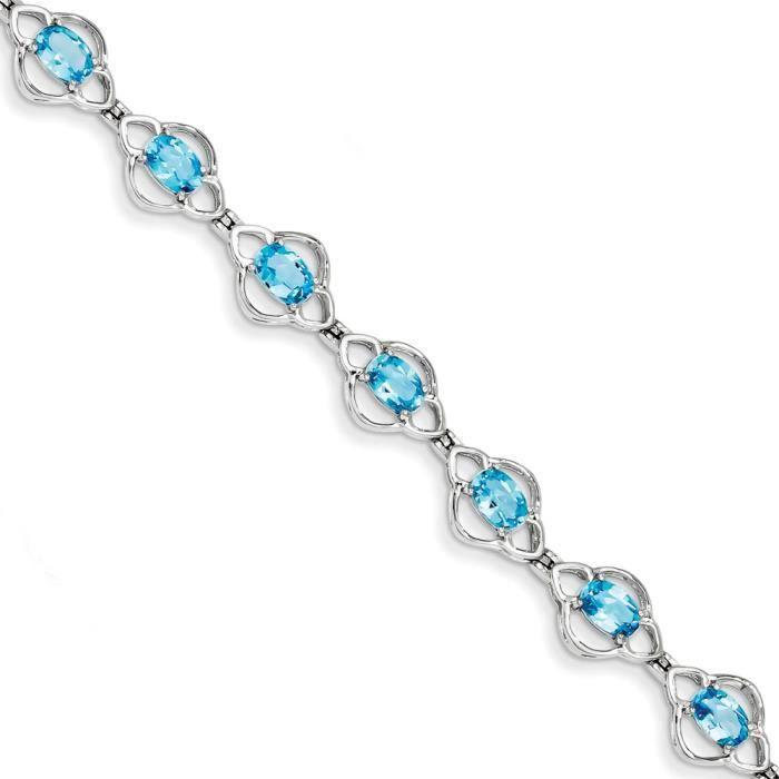 Clair argent Sterling Topaze bleue suisse style