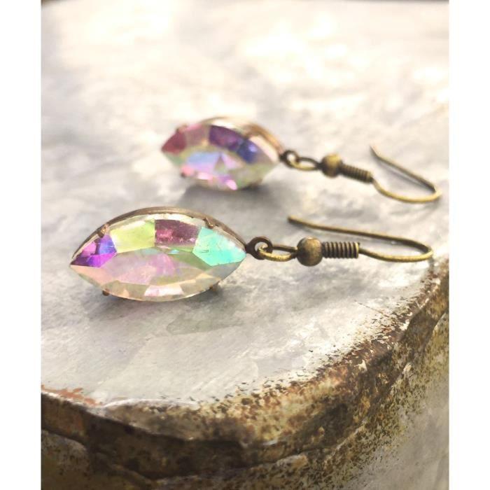 Craze Boucles doreilles Marquise strass pour les femmes, Vintage Aurora Cristal