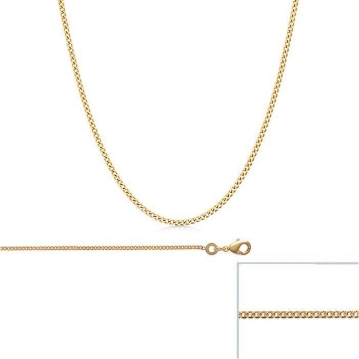 Chaine Plaqué Or maille Gourmette largeur 1,2mm (50 cm)