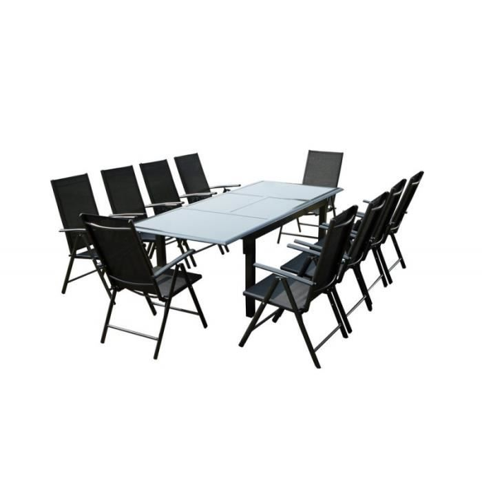 Table FIRONE avec rallonge en Aluminium Gris anthracite plateau en ...