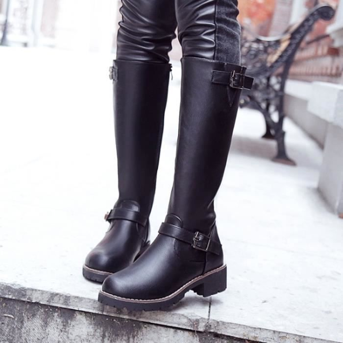 Noir Bottes d'hiver avec Basse Haute Bottes Leg Bottes dames.