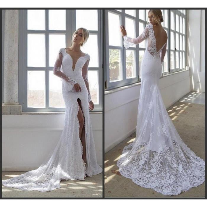 c64c76dd5c07d Robe de mariée mariage sirène blanche dentelle col V profond fendu devant  manche longue pagode dos nu V sexy élégante traîne