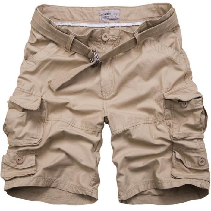 8afca24e85e83 Bermuda Homme Noir Multi-poches Bermuda Marque ... Kaki - Achat ...