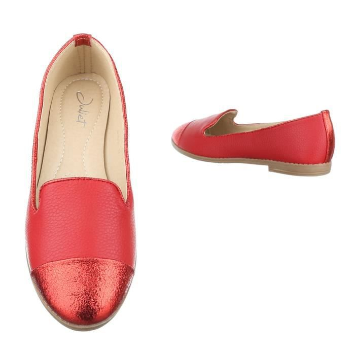 femme chaussure basse chaussure mocassin rouge cz9ebBp
