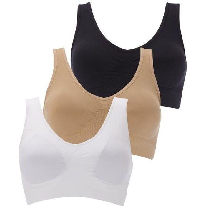 3 Pack Boolavard (TM) - Le soutien-gorge de confort ultime. Seamless  Support Comfort Sport Stretch Action Loisirs Noir Blanc 7f727e410bf