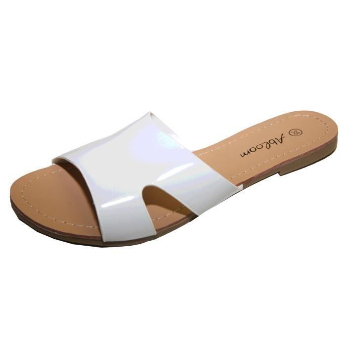 9b5d50db17b3e Tongs sandale claquette femme simili cuir verni ! Blanc Blanc ...