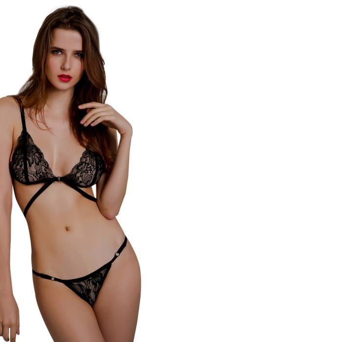 gorge Dentelle Up En Sous vêtements Femmes Pantalons Set Soutien Corset Push Top Lingerie Noir Bandage qa4xzxYtn