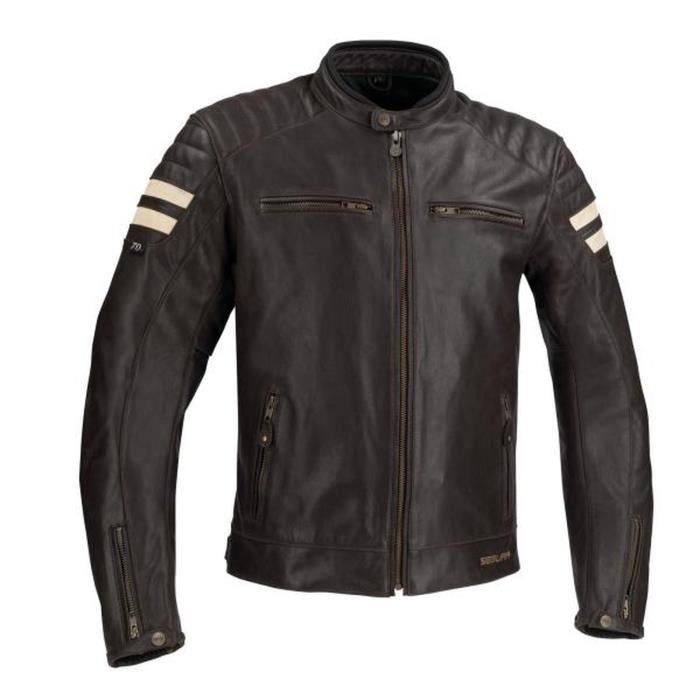 SLIDER SEGURA Blouson de moto Stripe - Marron / Beige