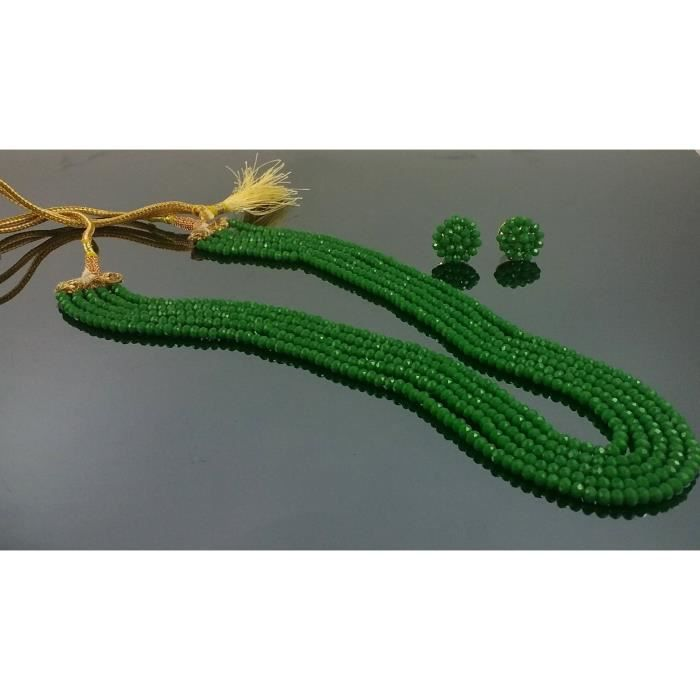 collier de perles en cristal de cinq couches de la femme avec des boucles doreille? AOMX1