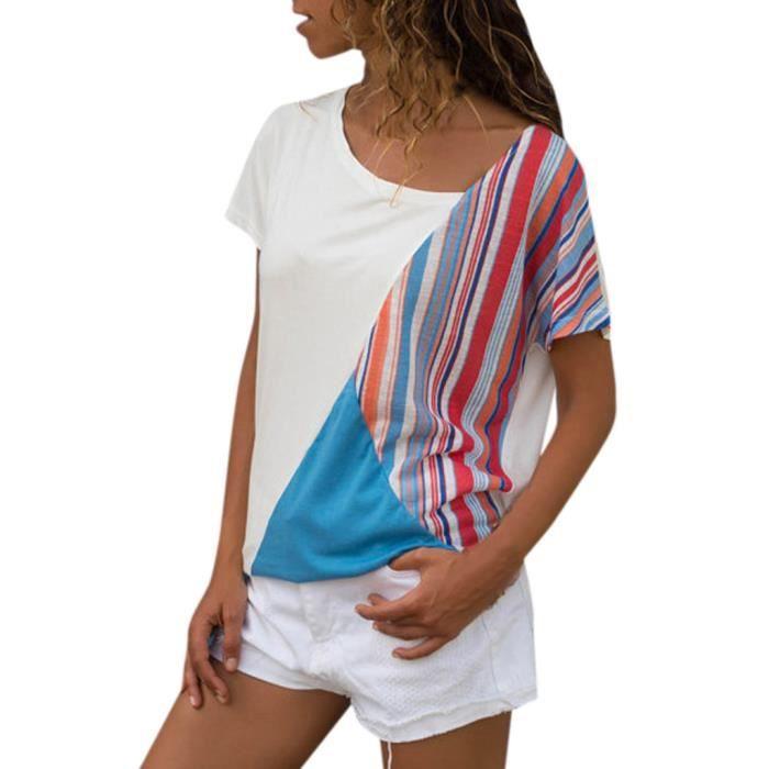 Patchwork T De Les Tous shirt T Manches Chemisier Femmes Jours Courtes Casual Hauts Couleur Bleu Splice qa4nT